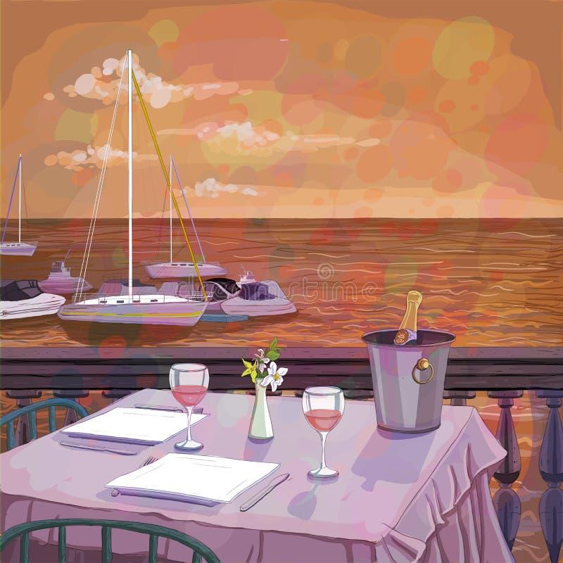 Romantisch diner op het overzeese strand met wijn, illustratie van een restaurantlijst royalty-vrije illustratie