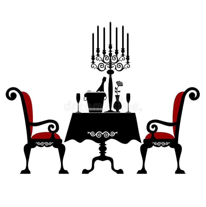 Romantisch diner voor twee vector illustratie