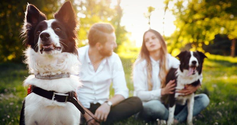 Romantisch gelukkig paar die in liefde van hun tijd met huisdieren in aard genieten stock foto's