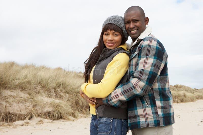 Romantisch Jong Paar op het Strand van de Winter stock afbeelding