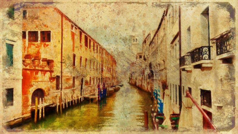 Romantisch landschap van Venetië, Italië computer het schilderen stock illustratie