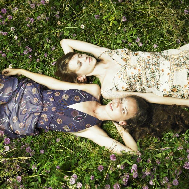 Romantisch meisje twee royalty-vrije stock afbeeldingen