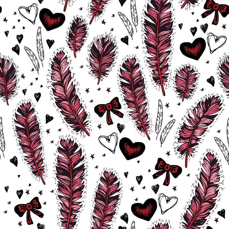 Romantisch naadloos patroon De dag van de valentijnskaart royalty-vrije illustratie