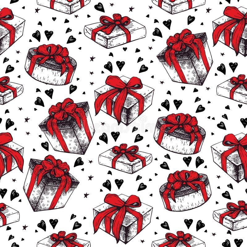 Romantisch naadloos patroon De dag van de valentijnskaart vector illustratie