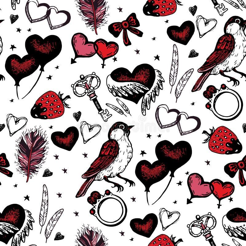 Romantisch naadloos patroon De dag van de valentijnskaart stock illustratie