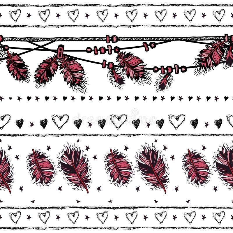 Romantisch naadloos patroon De dag van de valentijnskaart Grens vector illustratie