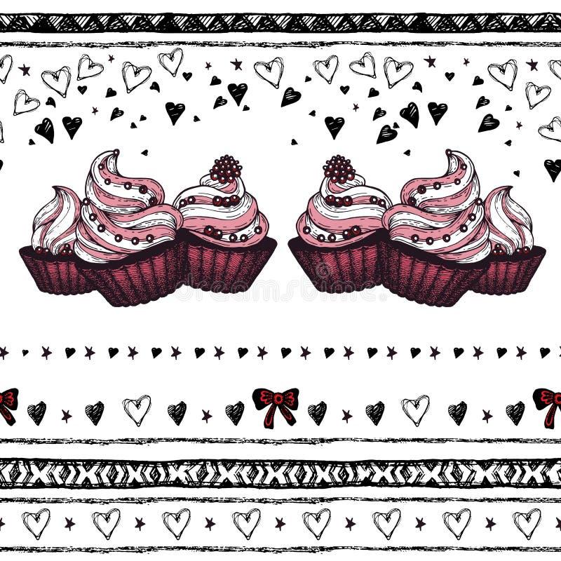 Romantisch naadloos patroon De dag van de valentijnskaart Grens royalty-vrije illustratie