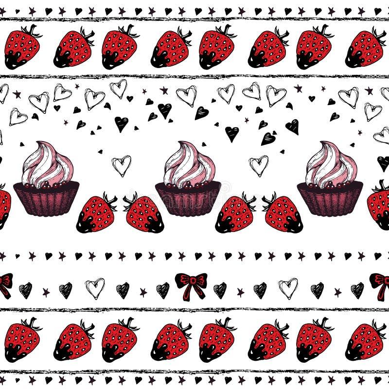 Romantisch naadloos patroon De dag van de valentijnskaart Grens stock illustratie