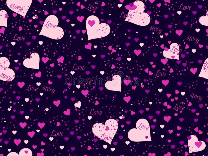 Romantisch naadloos patroon Liefdeachtergrond met harten, bessen en lippen Elementen van grungestijl Vector vector illustratie