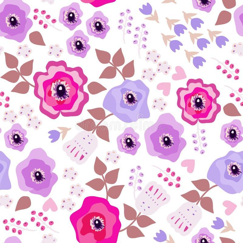 Romantisch naadloos patroon met bloemen in volksstijl Decoratief bloemenornament op witte achtergrond royalty-vrije illustratie