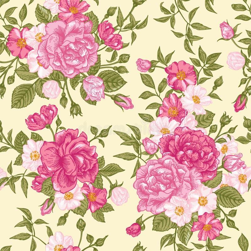 Romantisch naadloos patroon met roze rozen op een lichte achtergrond stock illustratie