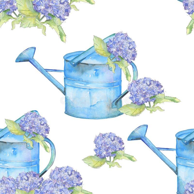 romantisch Naadloos patroon met uitstekende gieter en Hydrangea hortensia royalty-vrije illustratie