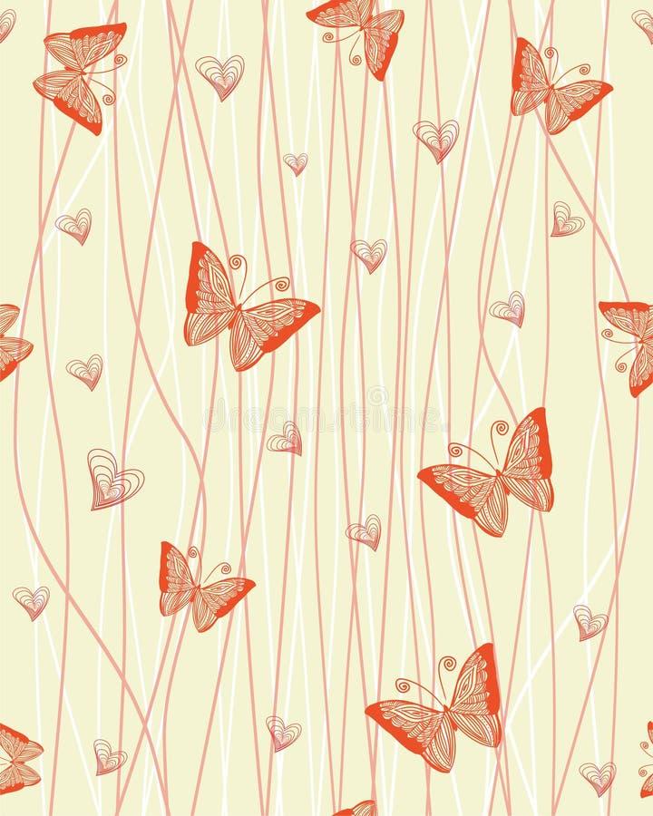 Romantisch naadloos patroon met vlinders vector illustratie