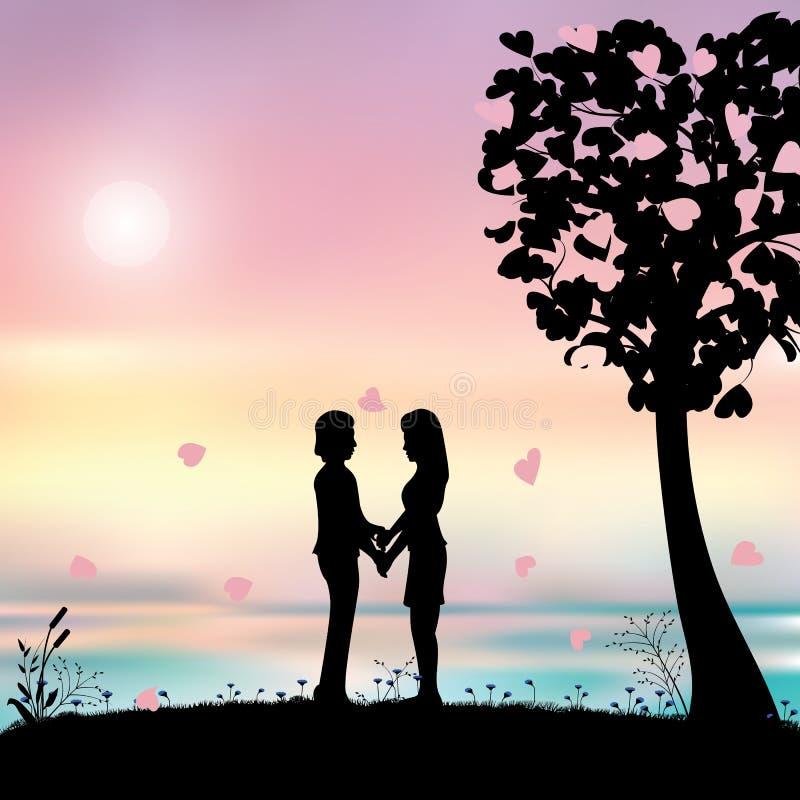 Romantisch onder de boom, Vectorillustraties stock illustratie