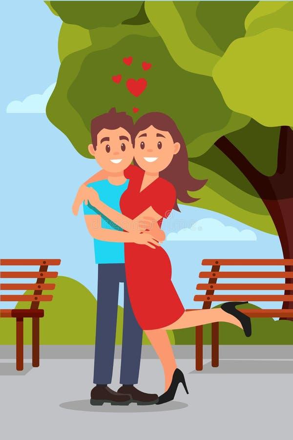 Romantisch paar die in park, vrouw koesteren die been opheffen Houten banken, groene boom en blauwe hemel op achtergrond Vlakke v royalty-vrije illustratie