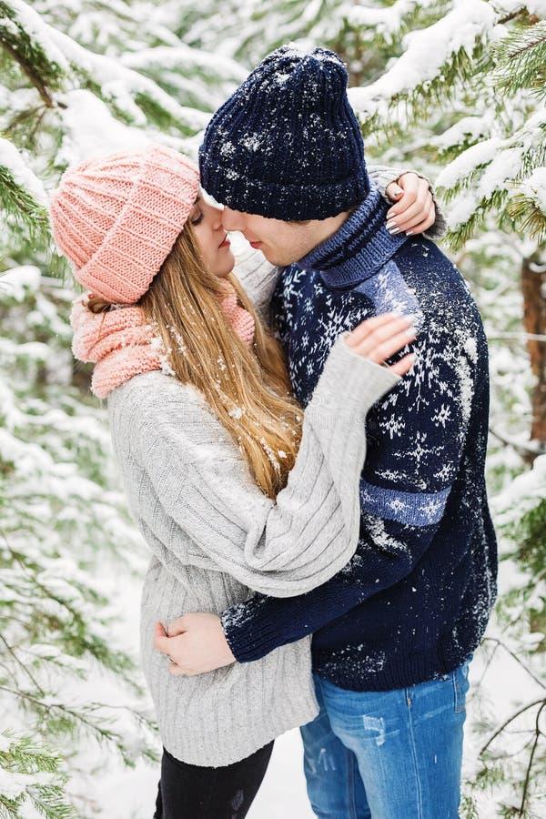 Romantisch paar die in sneeuwbos onder sparren omhelzen stock afbeelding