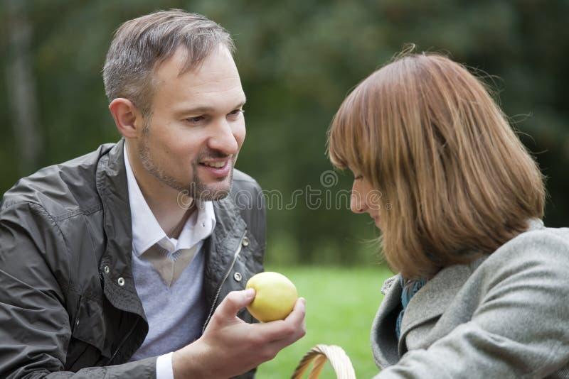 Romantisch paar door picknick royalty-vrije stock foto