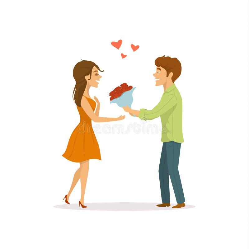 Romantisch paar in liefde op een datum, man verrassingenvrouw met bloemen stock illustratie