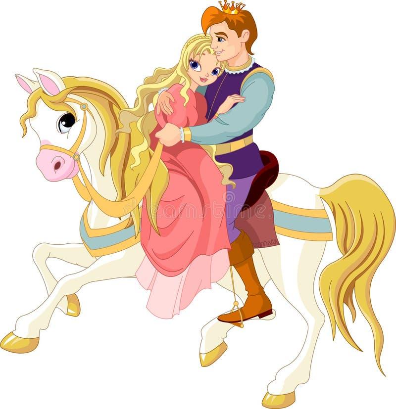 Romantisch paar op wit paard stock illustratie
