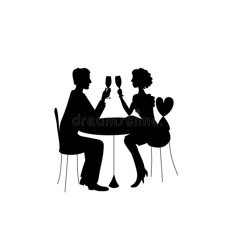 Romantisch paar in restaurant royalty-vrije illustratie