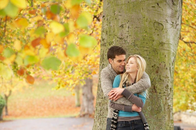 Romantisch TienerPaar door Boom in het Park van de Herfst stock foto