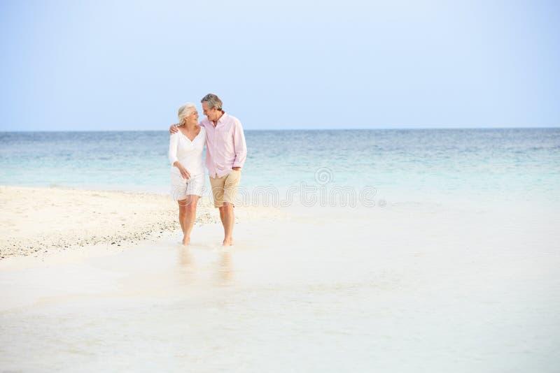 Romantische ältere Paare, die auf schönen tropischen Strand gehen stockfotos