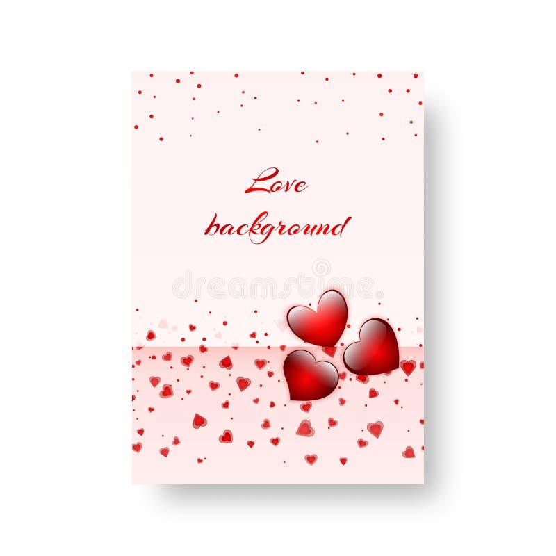 Romantische Abdeckung mit roten Herzen lizenzfreie abbildung