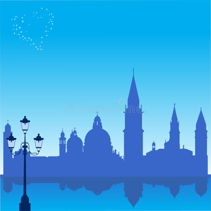 Romantische achtergrond met het silhouet van Venetië royalty-vrije illustratie