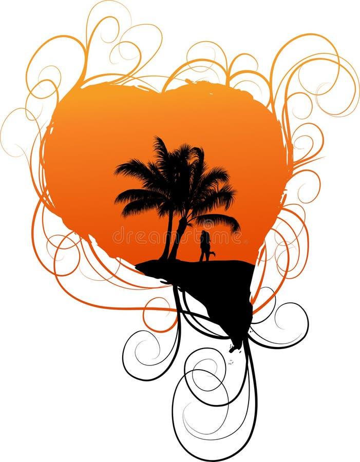 Romantische achtergrond met palm royalty-vrije illustratie