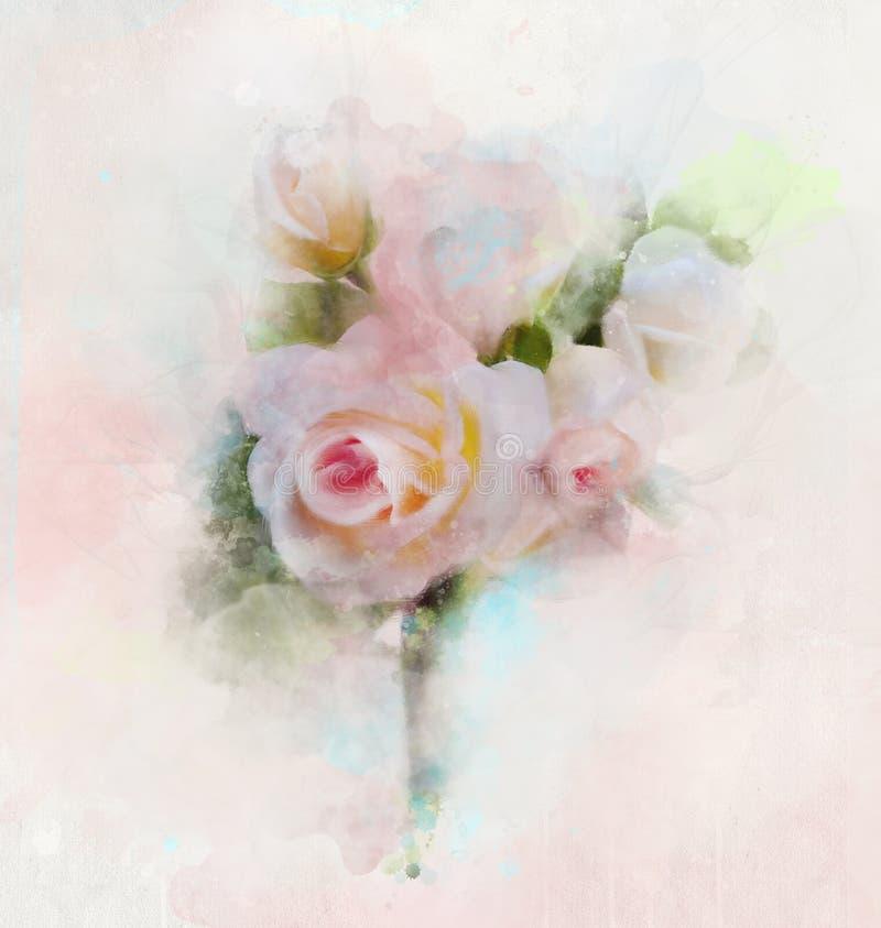 Romantische achtergrond met roze rozenboeket stock illustratie