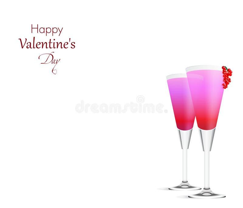 Romantische achtergrond met twee roze Cocktails royalty-vrije illustratie