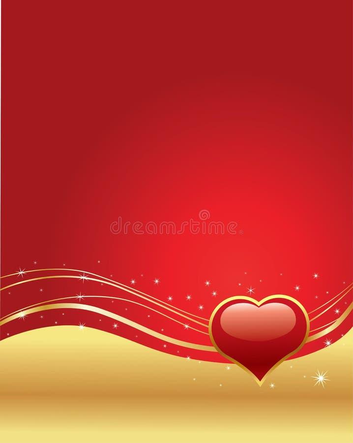 Romantische achtergrond voor valentijnskaartdag met rood hart vector illustratie