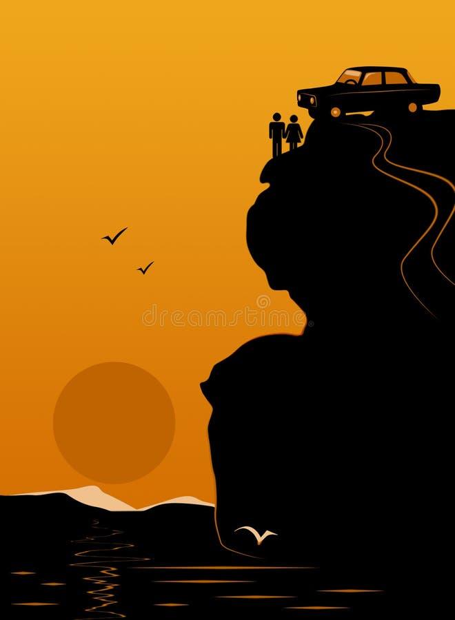 Romantische afspraken bovenop berg vector illustratie