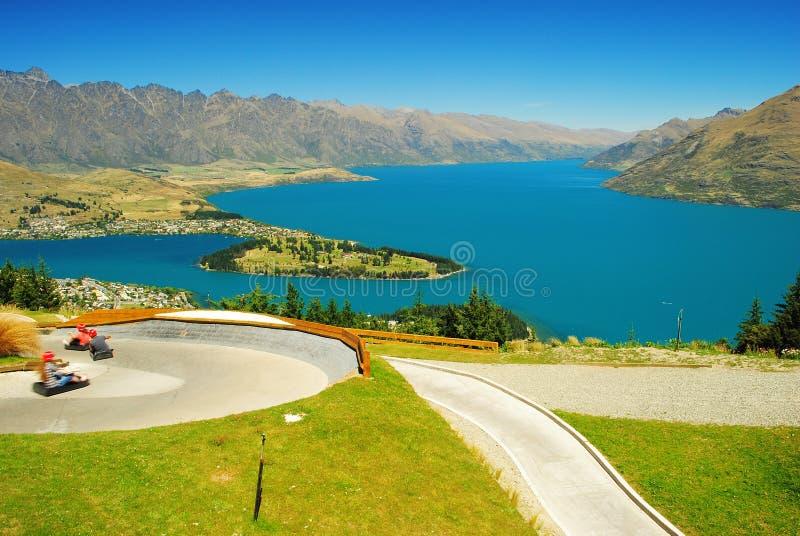 Romantische Ansicht von ursprünglichem klarem See in der Südinsel von Neuseeland stockfoto