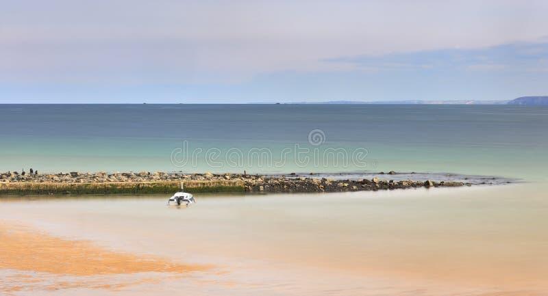 Romantische Atmosph?re am ruhigen Morgen in Meer Gro?e Flusssteine, die heraus vom glatten gewellten Meer haften lizenzfreie stockbilder