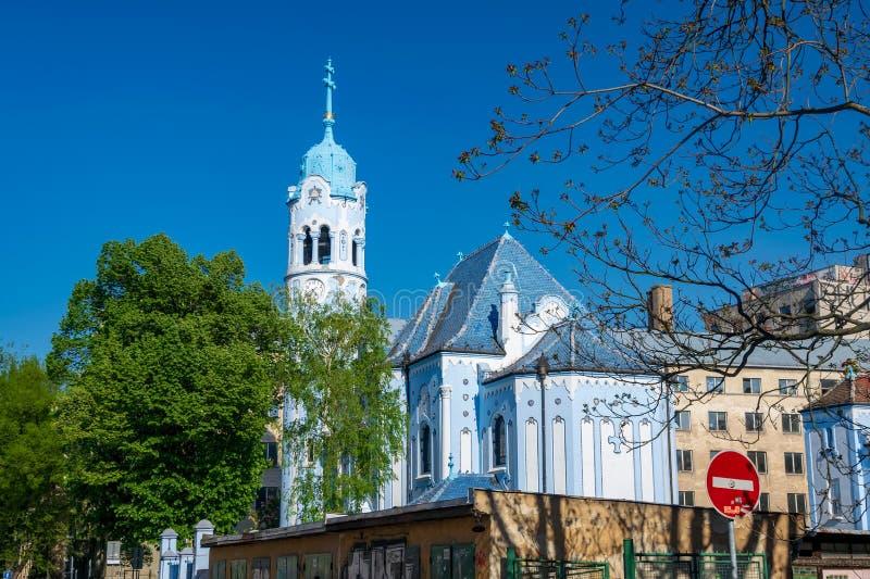 Romantische Blauwe Kerk van St Elizabeth in Bratislava, Slowakije stock foto's