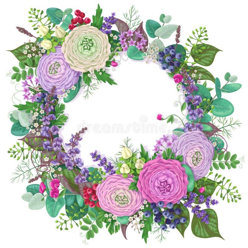 Romantische bloemengroetkaart stock illustratie
