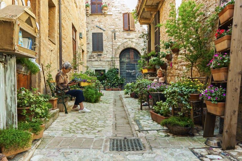 Romantische bloemenstraat in Spello, middeleeuwse stad in Umbri?, Itali? Beroemd voor smalle stegen en balkons en vensters met bl royalty-vrije stock foto