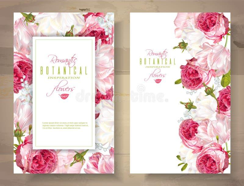 Romantische Blumenvertikalenfahnen vektor abbildung