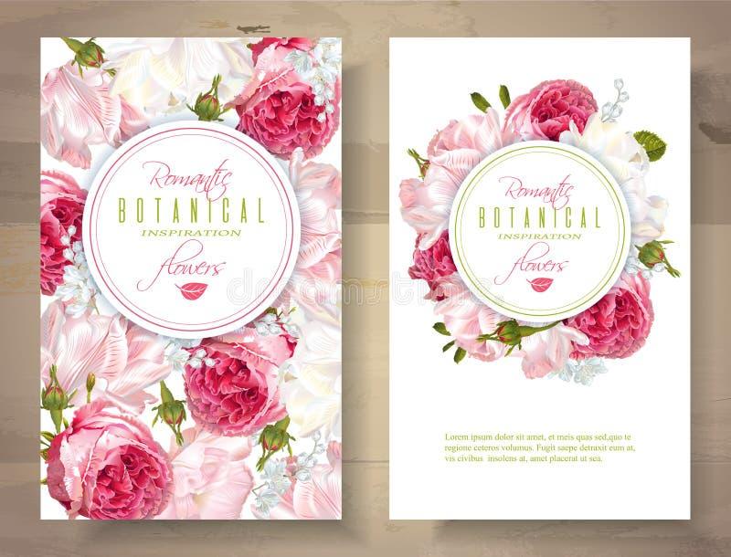Romantische Blumenvertikalenfahnen lizenzfreie abbildung