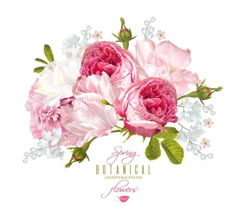 Romantische Blumenzusammensetzung lizenzfreie abbildung