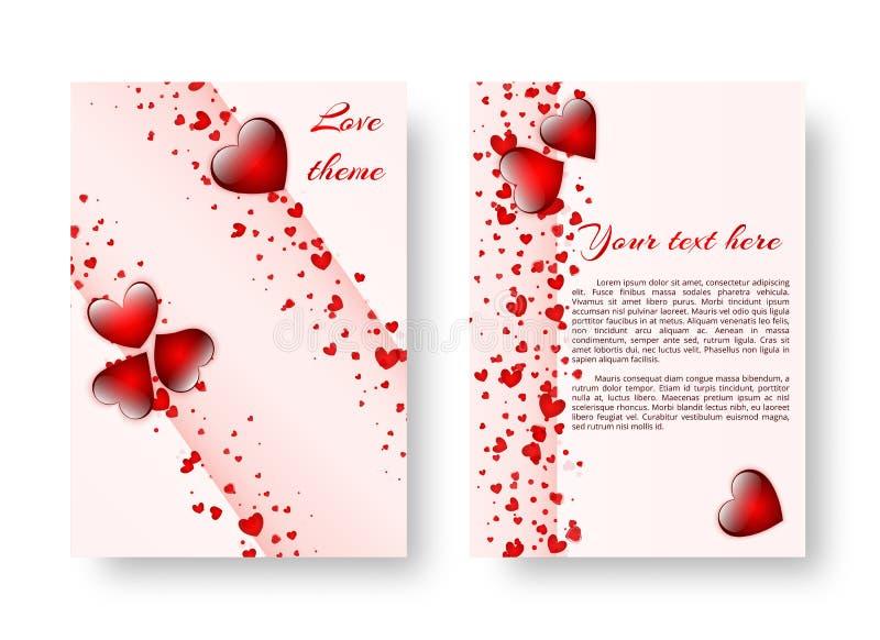Romantische Broschüre mit roten Herzen lizenzfreie abbildung