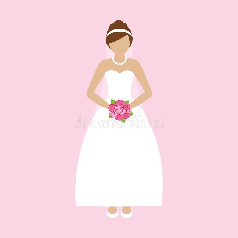 Romantische bruid in witte kleding met roze bloemen royalty-vrije illustratie