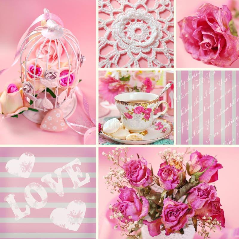 Romantische collage stock fotografie