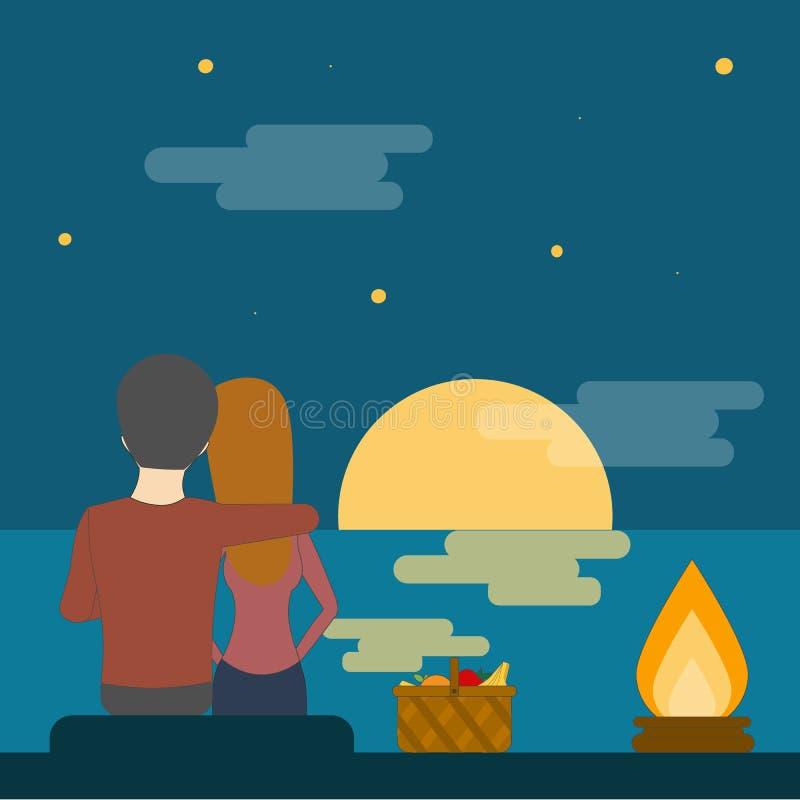 Romantische Datierung mit Picknick vektor abbildung