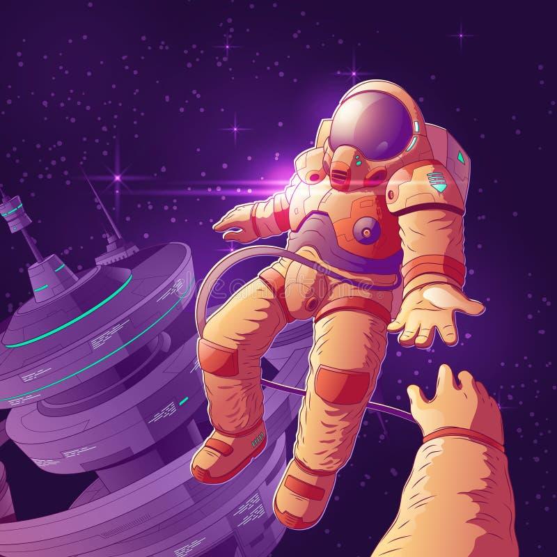 Romantische datum in kosmische ruimte vectorconcept stock illustratie