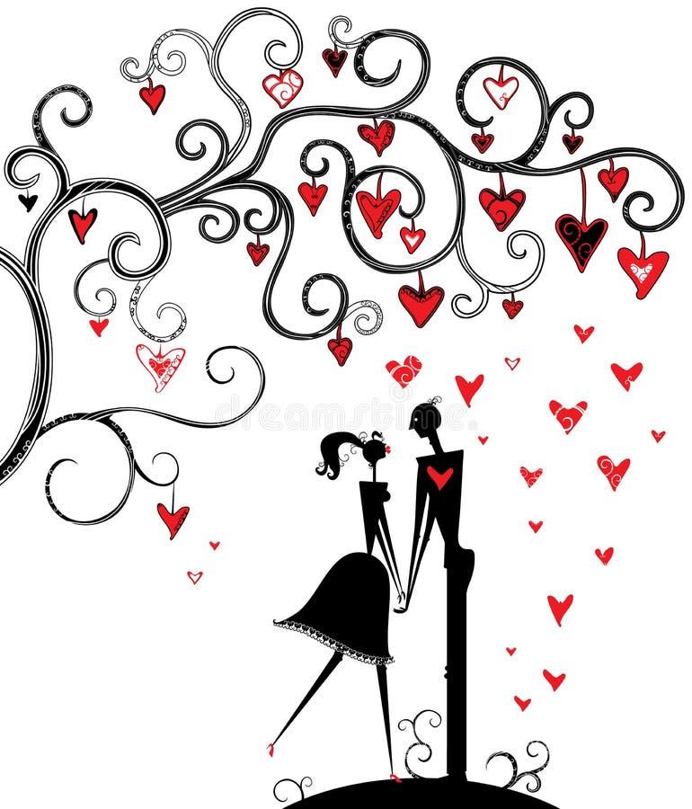 Romantische datum onder de boom van liefde. royalty-vrije illustratie