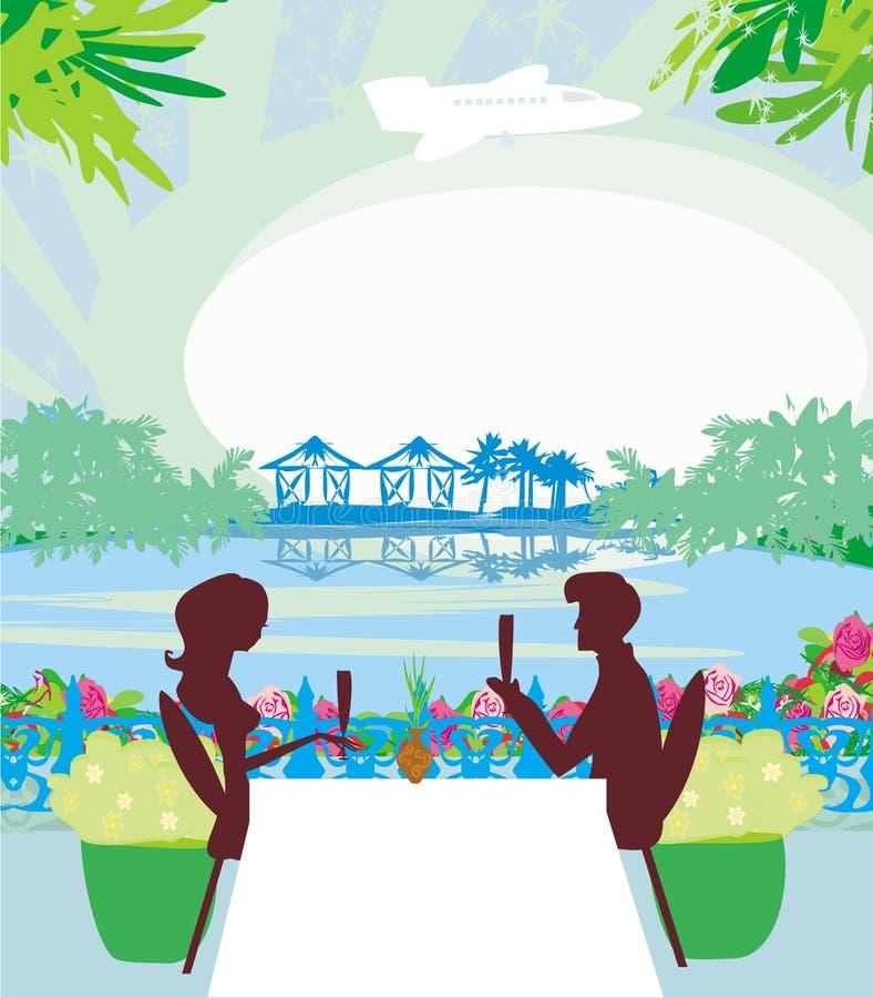 Romantische datum op een tropisch strand royalty-vrije illustratie