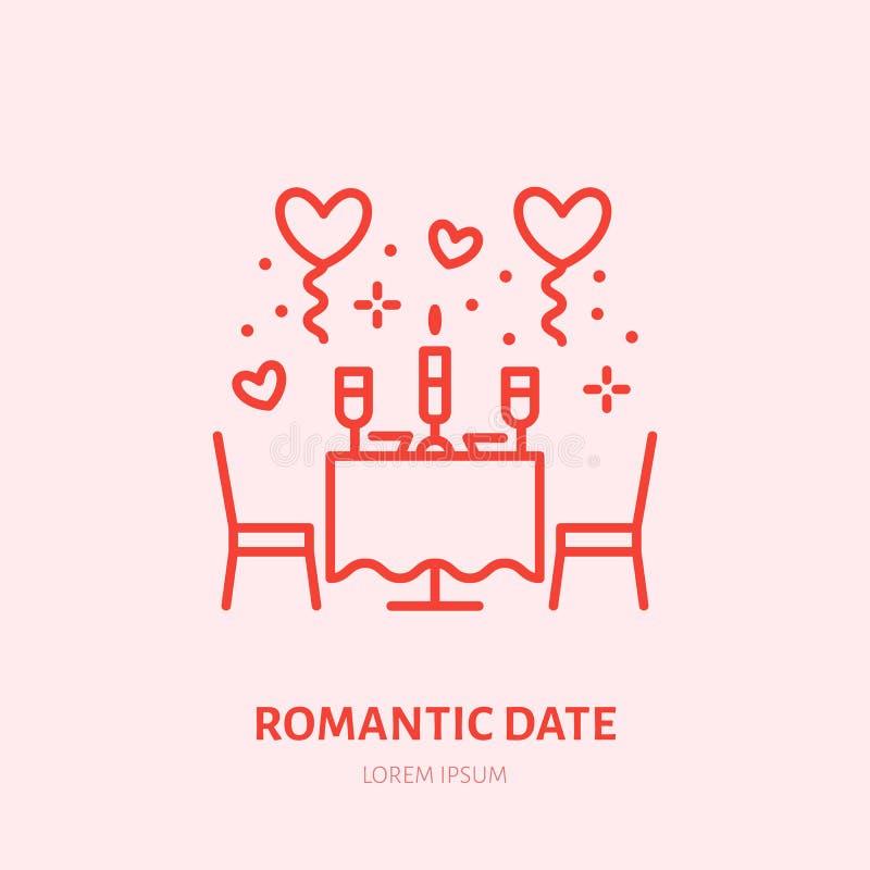 Romantische datumillustratie Diner door pictogram van de kaarslicht het vlakke lijn, het embleem van de juwelenopslag De vierings royalty-vrije illustratie
