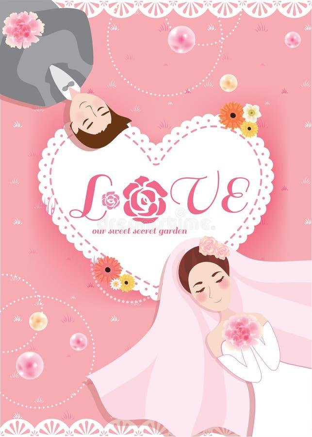 Romantische de bruid en de bruidegomwi van de huwelijkskaart van de pastelkleur zoete perzik roze royalty-vrije stock afbeeldingen